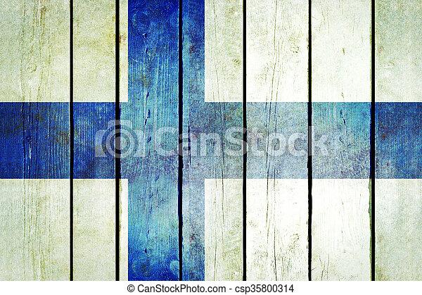 Finland wooden grunge flag. - csp35800314