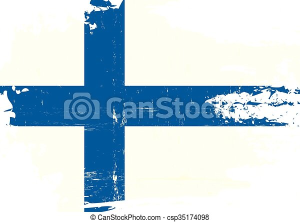 Finnish scratched Flag - csp35174098