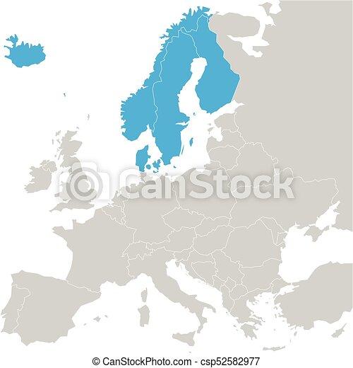 Karte Norwegen Dänemark.Finnland Landkarte Norwegen Hervorgehoben Island Blaues Politisch Dänemark Skandinavisch Staaten Schweden Vektor Abbildung Europe