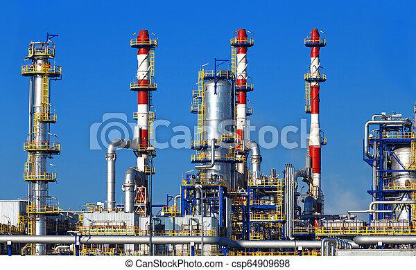finomító, petrolkémiai, olaj, berendezés - csp64909698