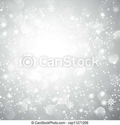 fiocco di neve, natale, fondo, argento - csp11271206