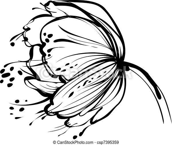 fiore bianco, germoglio - csp7395359