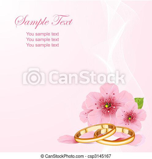 fiore, ciliegia, anelli, matrimonio - csp3145167