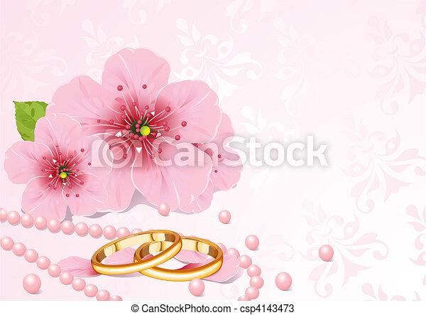 fiore, ciliegia, anelli, matrimonio - csp4143473