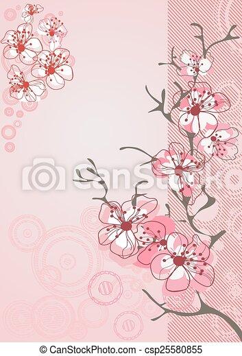 fiore, ciliegia, fondo - csp25580855