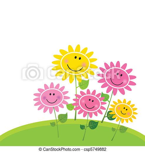 fiore, felice, primavera, giardino - csp5749882
