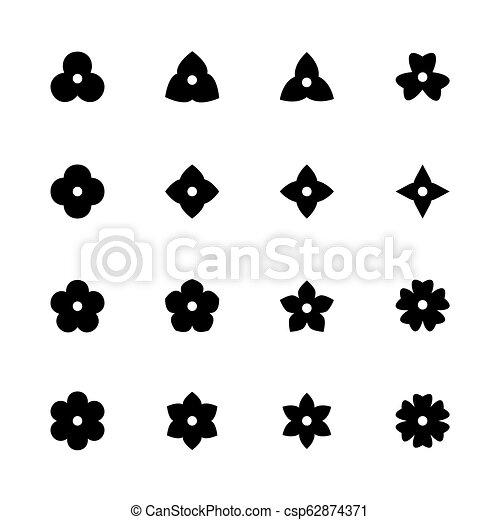 Fiore Icone Semplice Set Silhouette Fiorellino Nero Design