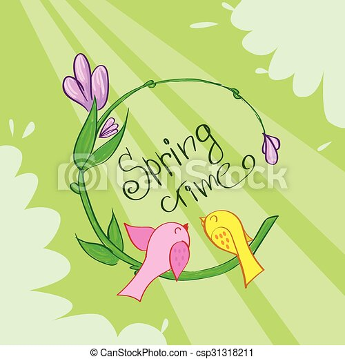 fiore, primavera, verde, tempo, bandiera, uccelli - csp31318211