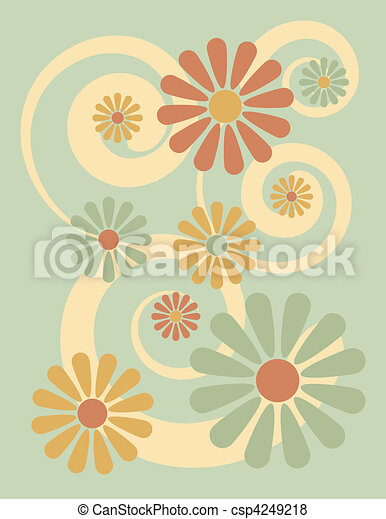 Fiore Sfondo Verde Stilizzato Fondo Fiori Verde Illustrazione