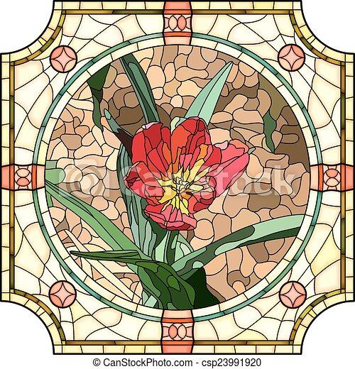 Fiore tulip mosaico rosso brillantemente frame - Mosaico per esterno fai da te ...