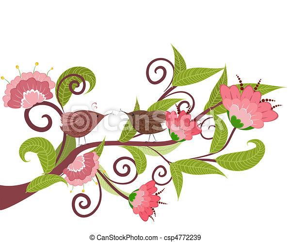 fiore, uccelli, ramo - csp4772239