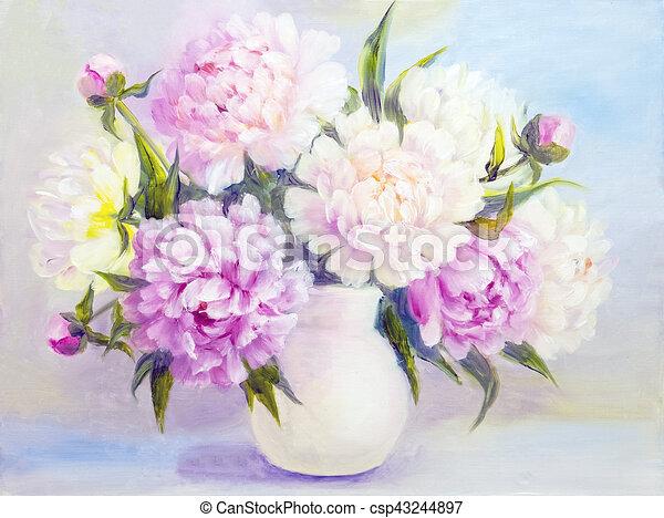 Fiori Bianchi In Vaso.Fiori Bianchi Peonia Vaso Rosa Olio Peonia Vase