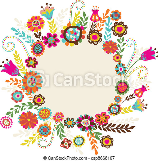 fiori, cartolina auguri - csp8668167