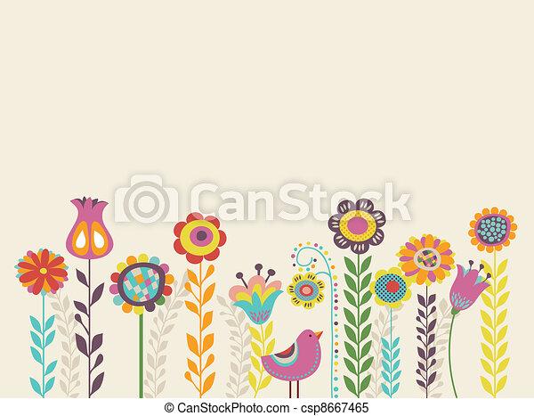 fiori, cartolina auguri - csp8667465