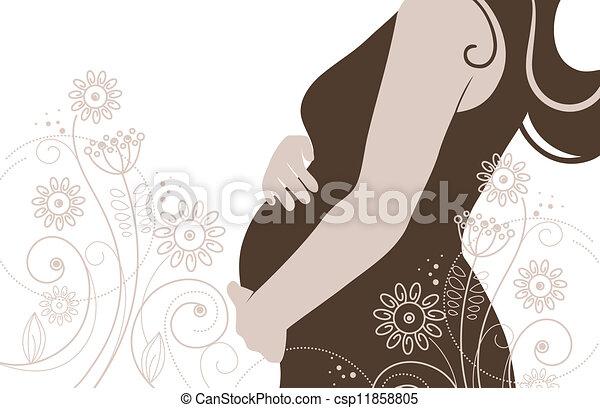fiori, donna, silhouette, incinta - csp11858805