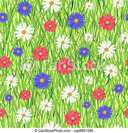 fiori, erba, astratto - csp9861595