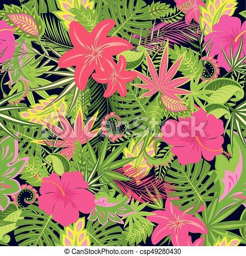 Fiori Esotici.Fiori Esotici Foglie Carta Da Parati Seamless Tropicale Palma