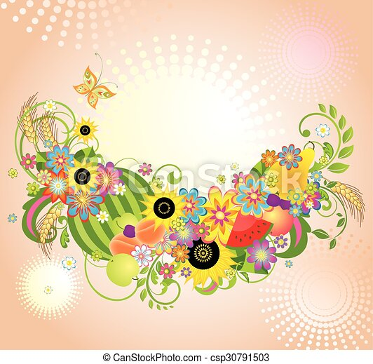 fiori, fondo, frutte - csp30791503