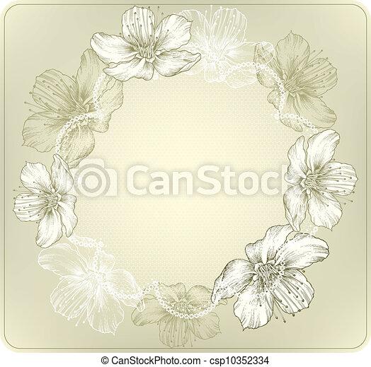 fiori, h, laccio, rotondo, azzurramento - csp10352334