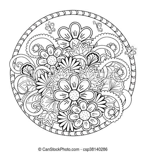 Fiori Mandala.Fiori Mandala Aggrovigliato Ceramica 10 Colorante Riserva
