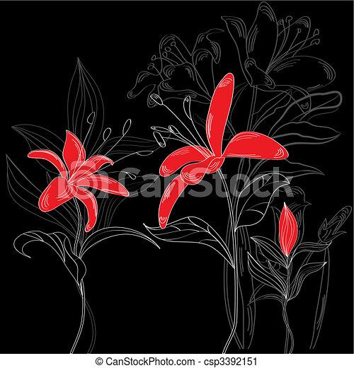 Fiori Nero Rosso Fondo