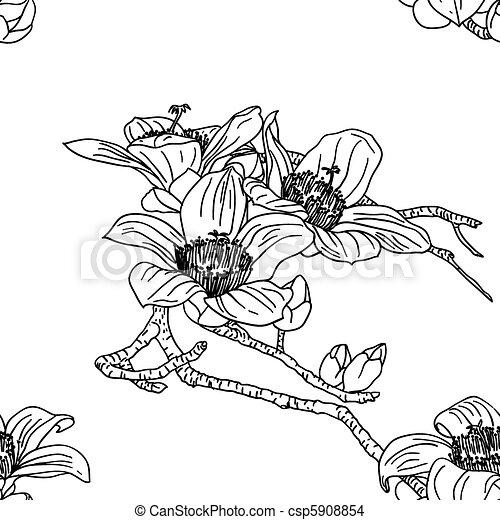 fiori, seamless, carta da parati, orchidea - csp5908854