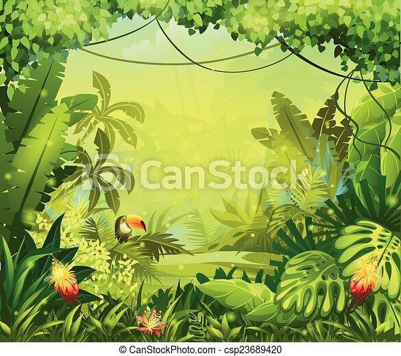 fiori, tucano, giungla, llustration - csp23689420