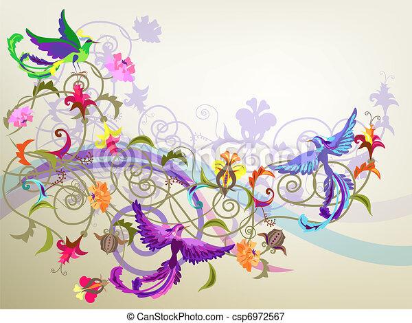 fiori, uccelli - csp6972567