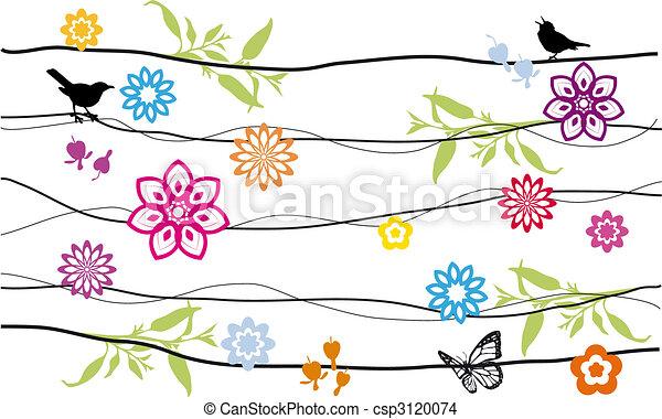 fiori, uccelli - csp3120074