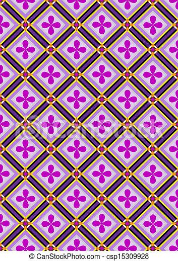 fiori, viola, nero, quadrato - csp15309928