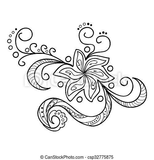 fiori, zentangle , csp32775875