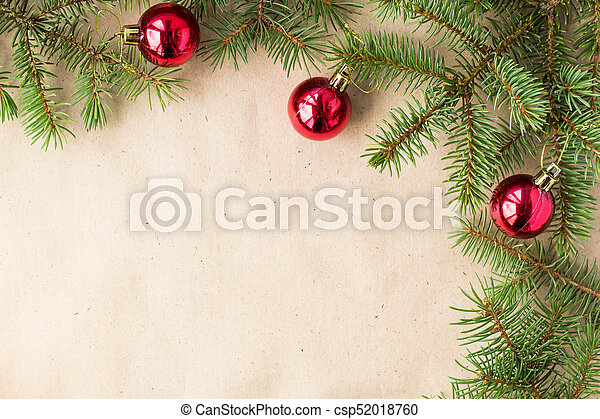Fir Tree Branches Decorated With Red Christmas Balls As Border On A
