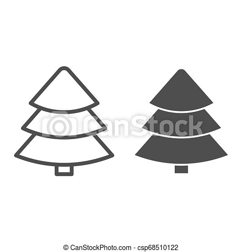 Fir tree line and glyph icon. Christmas tree vector illustration isolated on white. Tree outline style design, designed for web and app. Eps 10. - csp68510122