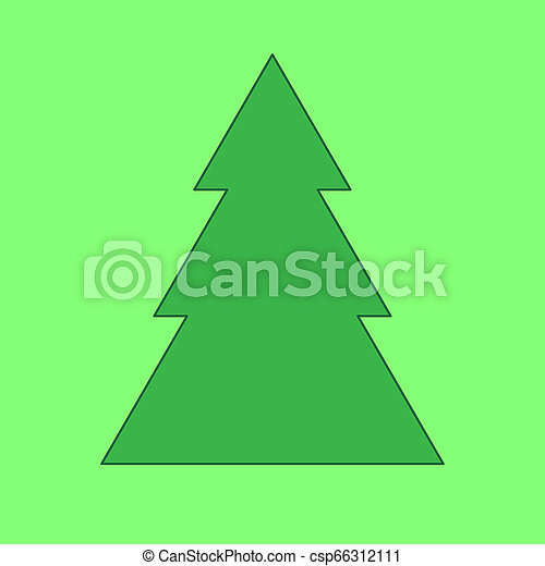 Fir tree on the green background - csp66312111