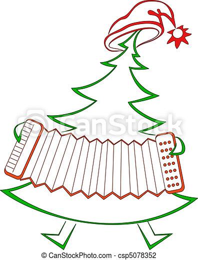 fir tree with accordion christmas fir tree with accordion  fir tree with accordion csp5078352