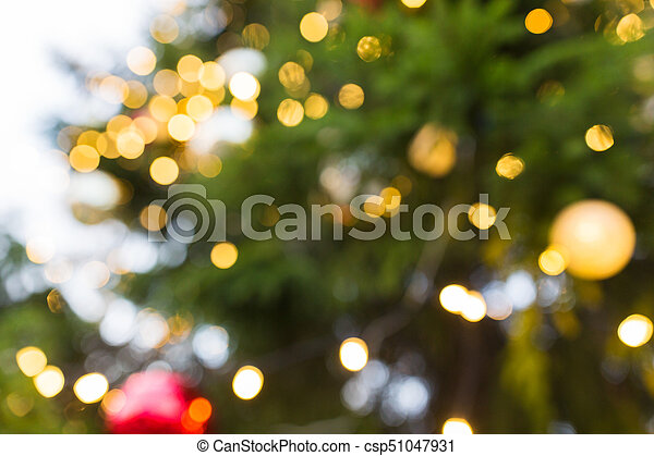 Christmas Lights Background.Fir Tree With Blurred Christmas Lights Background