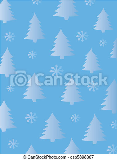 Fir Trees and Snowflakes Background - csp5898367