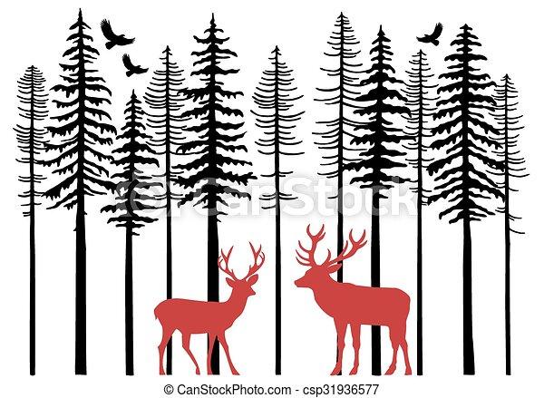Fir trees with reindeer, vector - csp31936577