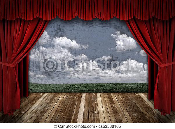 firanki, aksamit, dramatyczny, teatr, czerwony, rusztowanie - csp3588185