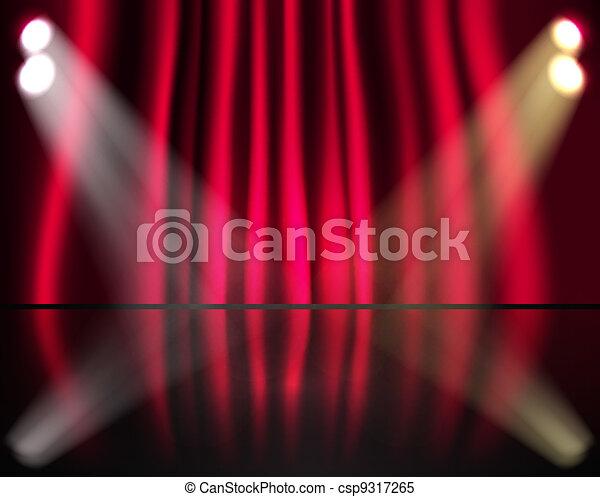 firanki, oświetlenie, czerwony, rusztowanie - csp9317265