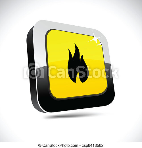 Fire 3d square button. - csp8413582
