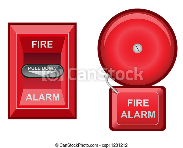 fire alarm vector illustration isolated on white background rh canstockphoto com fire alarm clip art black and white fire alarm testing clipart