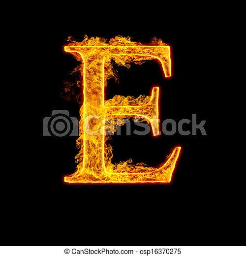 Fire alphabet letter e isolated on black background altavistaventures Images