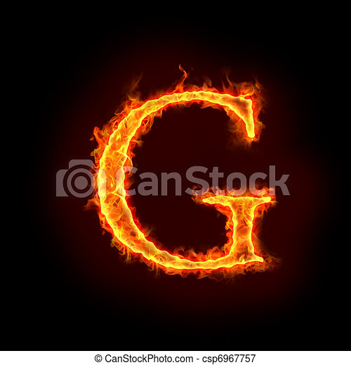 Fire Alphabets G In Flame Letter