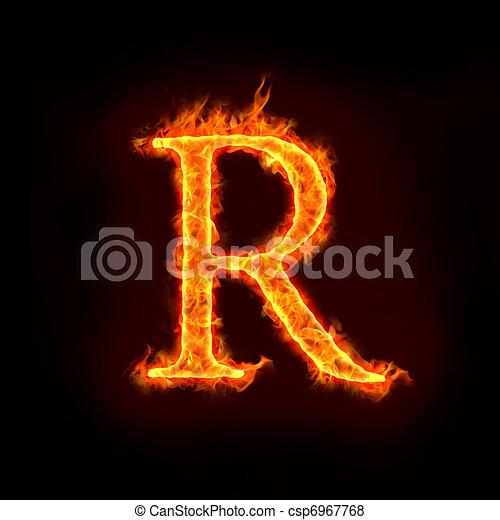 fire alphabets, R - csp6967768