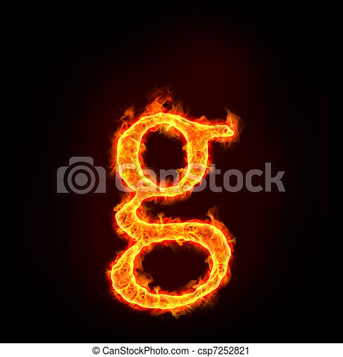 Fire Alphabets Small Letter G