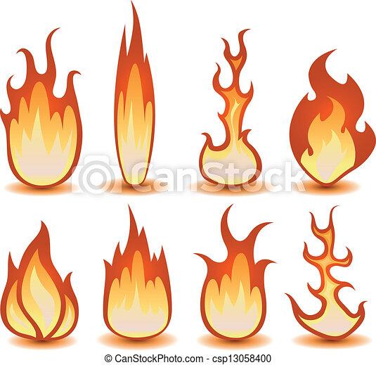 Fire And Flames Symbols Set - csp13058400
