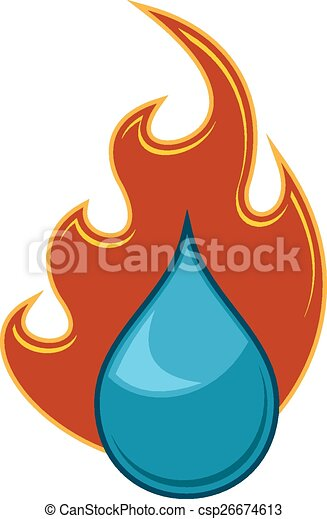 Fire And Water Logo Water Flame Illustration