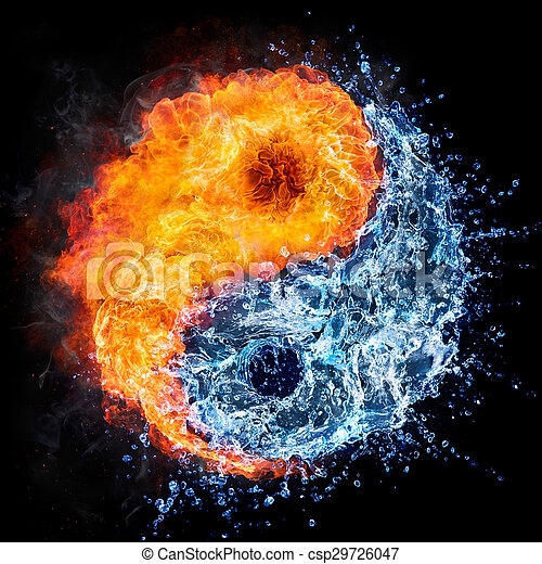 Fire And Water Yin Yang Concept Tao Symbol