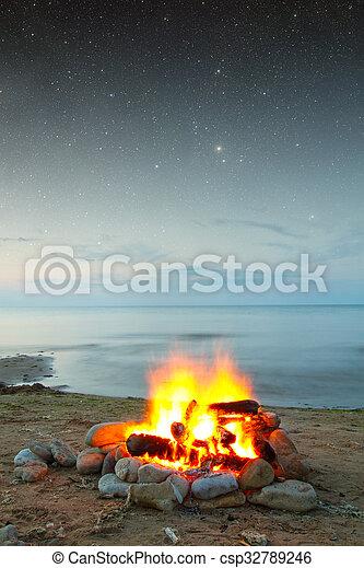 fire at sea - csp32789246